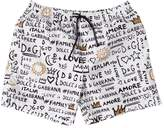 Dolce & Gabbana Logo Printed Nylon Swim Shorts