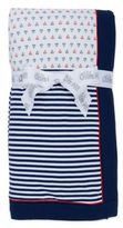 Little Me Boats and Stripes Reversible Stroller Blanket in Blue