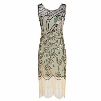 Zegeey Women's Sequined Dress 1920s Inspired Sequins Beads Long Tassel Inserts Dress Women's Flapper Fringe Summer Party Dress(Gold UK-14/CN-XL)