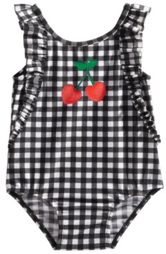 First Impressions Baby Girls 1-Pc. Gingham-Print Cherries Swimsuit, Created for Macy's