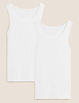 Marks and Spencer 2pk Thermal Built-up Shoulder Vests