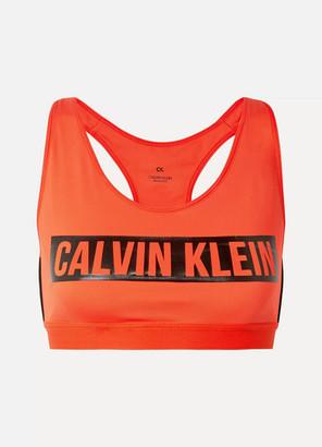 Calvin Klein Printed Stretch Sports Bra - Bright orange