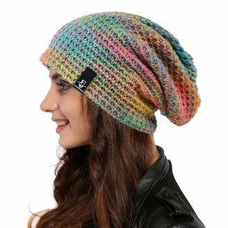 Ruphedy Women Oversized Slouchy Beanie Knit Hat Colorful Long Baggy Skull Cap for Winter - blue - L