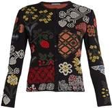 Alexander McQueen Floral cross-stitch silk-blend jacquard cardigan