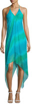 Ramy Brook Nadia Halter Stripe Midi Dress, Green