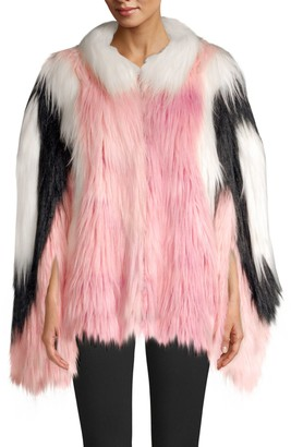 House Of Fluff Convertible Cape Faux Fur Jacket