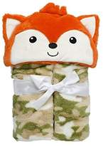 Baby Gear Baby Boys Velboa Plush Hooded Animal Buddy Character Full Expanding Blanket With Gift Wrap Bow