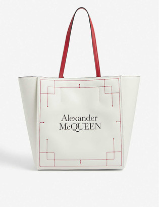 Alexander McQueen Signature logo-embossed leather tote bag