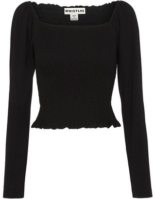 Whistles Square Neck Rouched Top