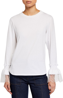 See by Chloe Lace Cuff Long-Sleeve Cotton T-Shirt