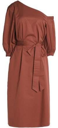 Tibi One-shoulder Tie-front Cotton-poplin Dress