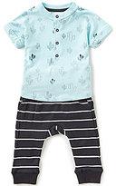 Petit Lem Baby Boys 3-24 Months Printed Cactus Short-Sleeve Top & Striped Pants Set