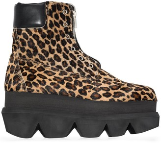 Sacai Leopard-Print Ankle Boots