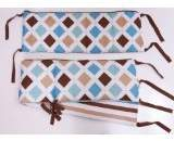Bacati Modern Stripes Aqua/Chocolate Bumper Pad