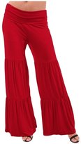 Honeystore Women's Soft High Waisted Wide Leg Long Plus Palazzo Pants L