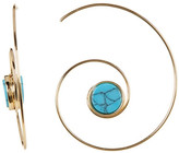 Cara Accessories Turquoise Seashell Swirl Hoop Threader Earrings