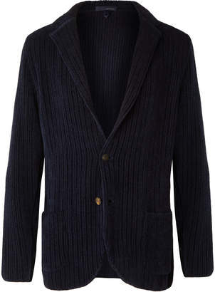 Lardini Navy Unstructured Wool And Cotton-Blend Chenille Blazer