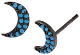 Journee Collection 1/5 CT. T.W. Round-cut Turquoise Half Moon Stud Pave Set Earrings in Sterling Silver - Blue