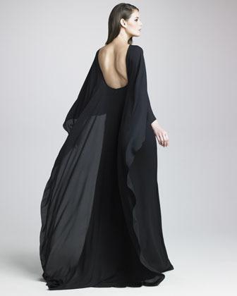 Elie Saab Silk Georgette Capelet Gown