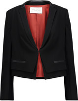 Halston Cropped leather-trimmed crepe blazer