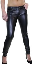 Ice Stretch Faux Leather Skinny Jeans Low Rise