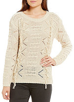 Elan ELAN Crew Neck Fringe Sweater