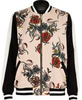 River Island Womens Pink floral print bomber jacket