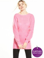 Warehouse Mohair Scoop Back Tunic - Pink