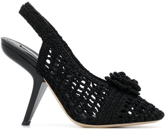 Marco De Vincenzo Crochetted Flower Sandals