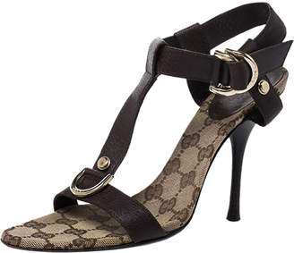 Gucci Brown Leather T-Bar Double D Ring Ankle Strap Sandals Size 37