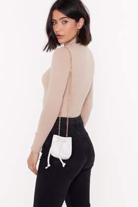 Nasty Gal Womens Faux Croc Chain Strap Mini Bucket Bag - White - One Size, White