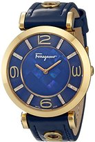 """Salvatore Ferragamo Women's """"GANCINO DECO"""" Diamond-Accented Gold Ion-Plated Watch with Blue Leather Band"""