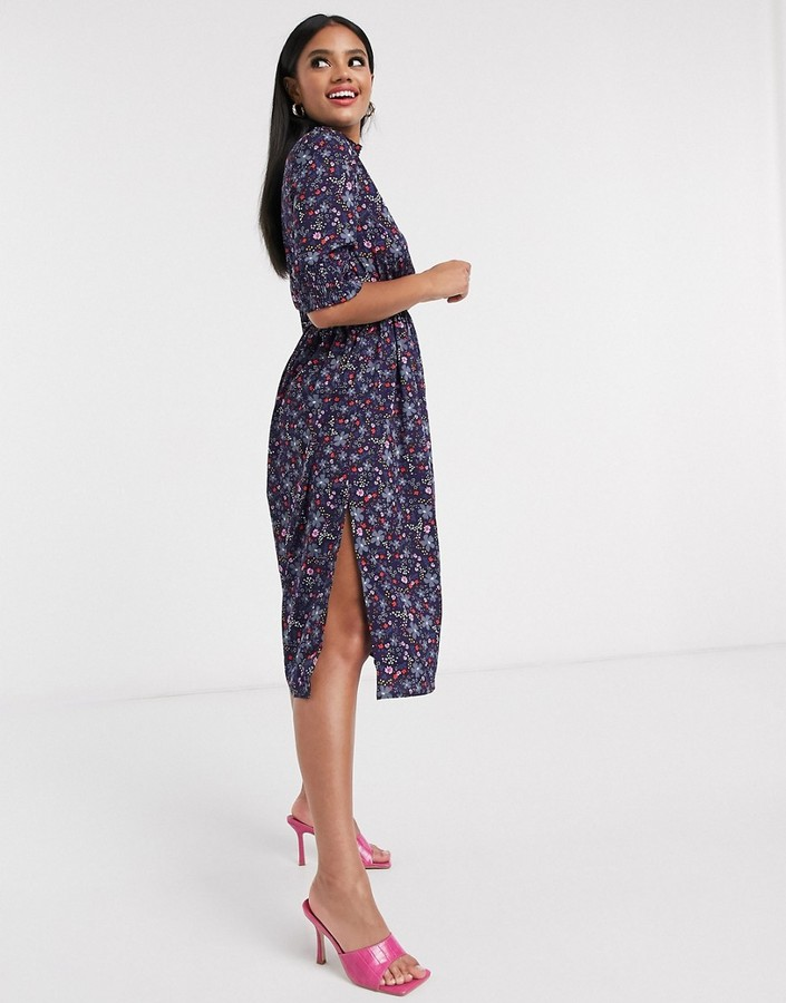 Thumbnail for your product : Qed London high neck tie waist midi dress in floral print
