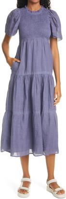 Sea Yara Smocked Tiered Cotton Dress