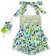 D.LIN Baby Girl's Ruffles Romper Dresses+Headband Summer Clothing