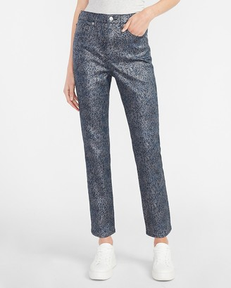 Express Super High Waisted Metallic Dark Wash Slim Jeans