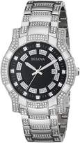 Bulova Men's 96B176 Crystal /Black Stainless Steel Watch