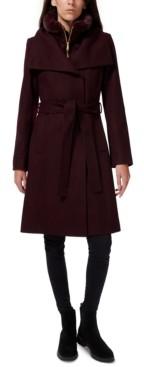 Sam Edelman Faux-Fur-Lined Belted Wrap Coat