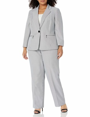 Le Suit LeSuit Women's Plus Size 1 Button Notch Collar Whip Cord Stripe Pant Suit with Zipper Pocket Detail