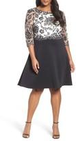 Tadashi Shoji Plus Size Women's Three-Quarter Scuba Knit Sleeve Dress