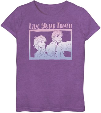 Licensed Character Disney's Frozen 2 Elsa & Anna Girls 6-16 Live Your Truth Gradient Top