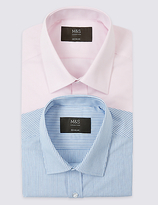 M&S Collection 2 Pack Easy to Iron Regular Fit Shirts