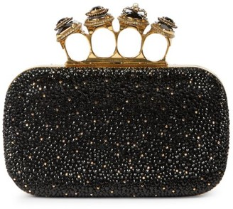 Alexander McQueen Spider Four-Ring Embellished Leather Box Clutch