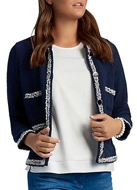 Basler Frayed Trim Knit Jacket