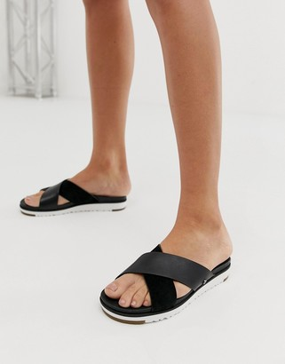 UGG Kari cross strap slides in black