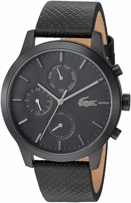 Lacoste Black pvd Quartz Watch with Leather Strap 19 (Model: 2010997)
