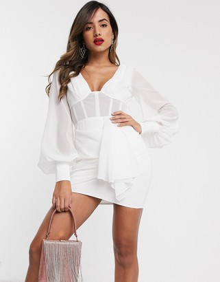 ASOS DESIGN corset detail blouson sleeve mini dress with drape skirt