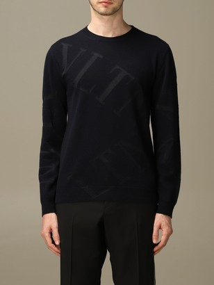Valentino Wool Sweater With All Over Vltn Logo