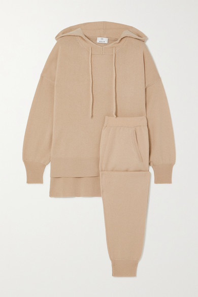 Allude Cashmere Hoodie And Track Pants Set - Tan