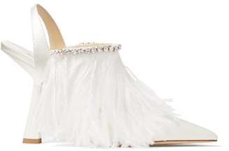 Jimmy Choo Ambre 100 Ostrich Feather Slingback Heels